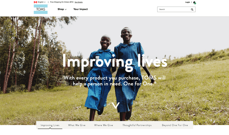 TOMS social responsibility landing page
