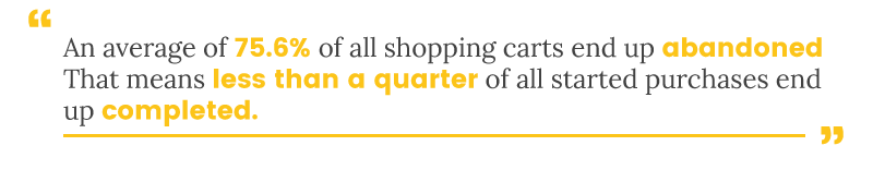 75.6% of shopping carts end up abandoned. Less than a quarter of purchases are completed