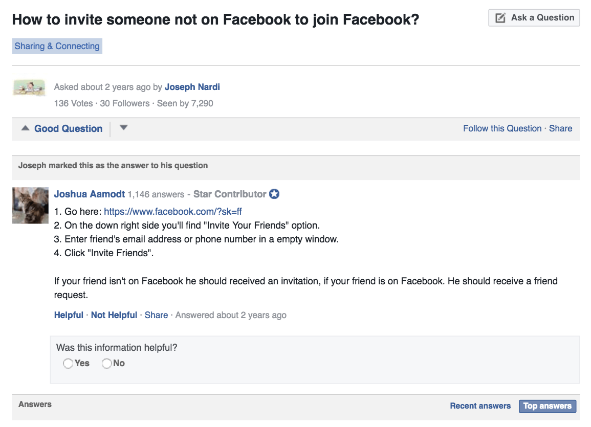 Facebook forums explain how to refer a new friend to facebook