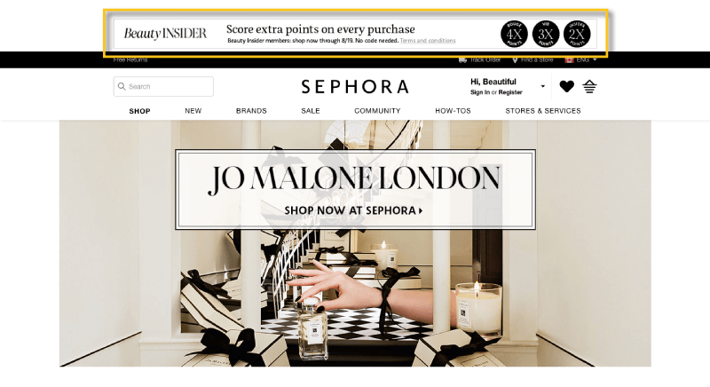 in-store experiences sephora homepage banner