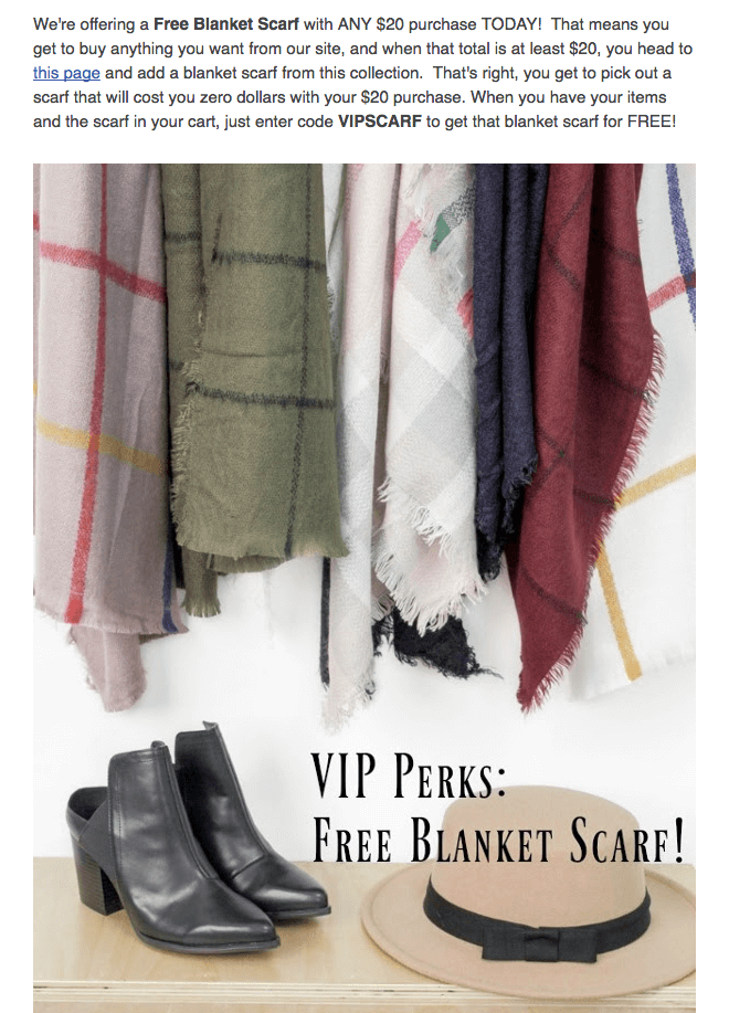 Cents of Style VIP free scarf reward