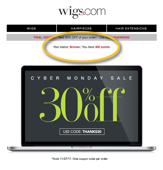 Wigs.com email with loyalty point balance and VIP tier