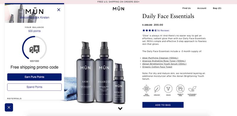 MUN Skin's customer panel with progress bar