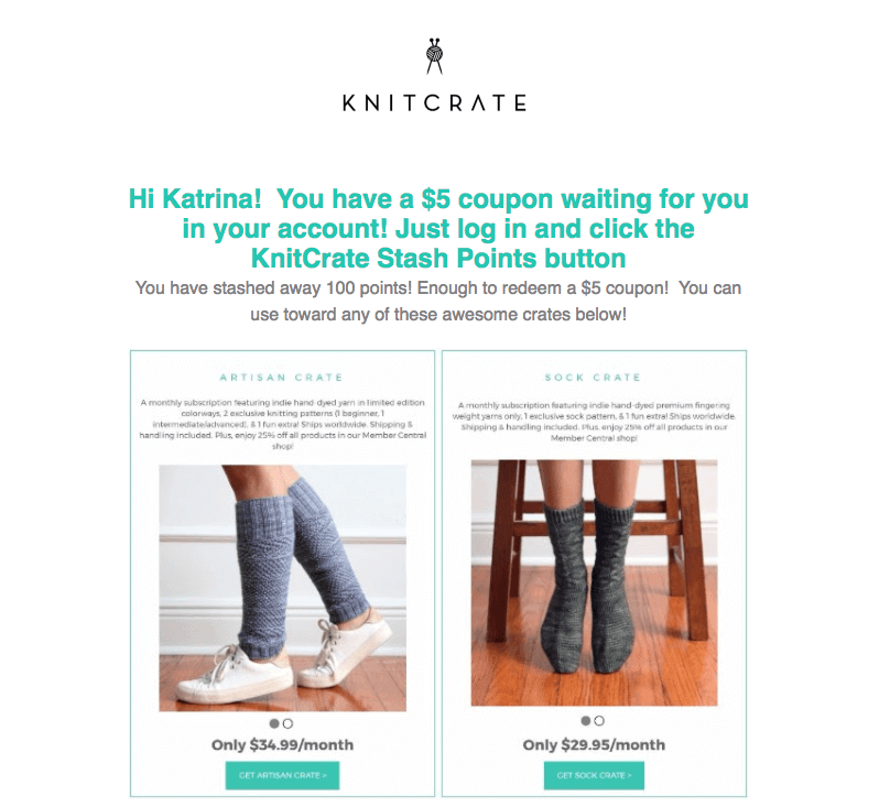 Reactivation rewards email from Knitcrate