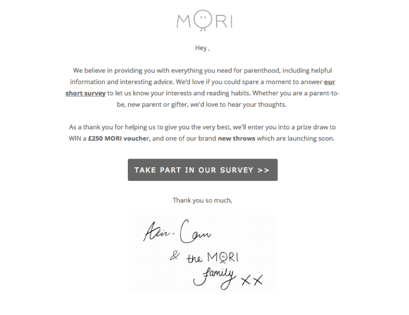 Email from Mori requesting customer feedback