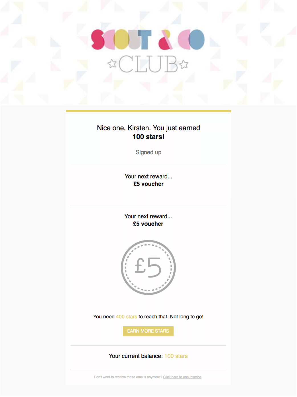 Scount & Co Club program status email