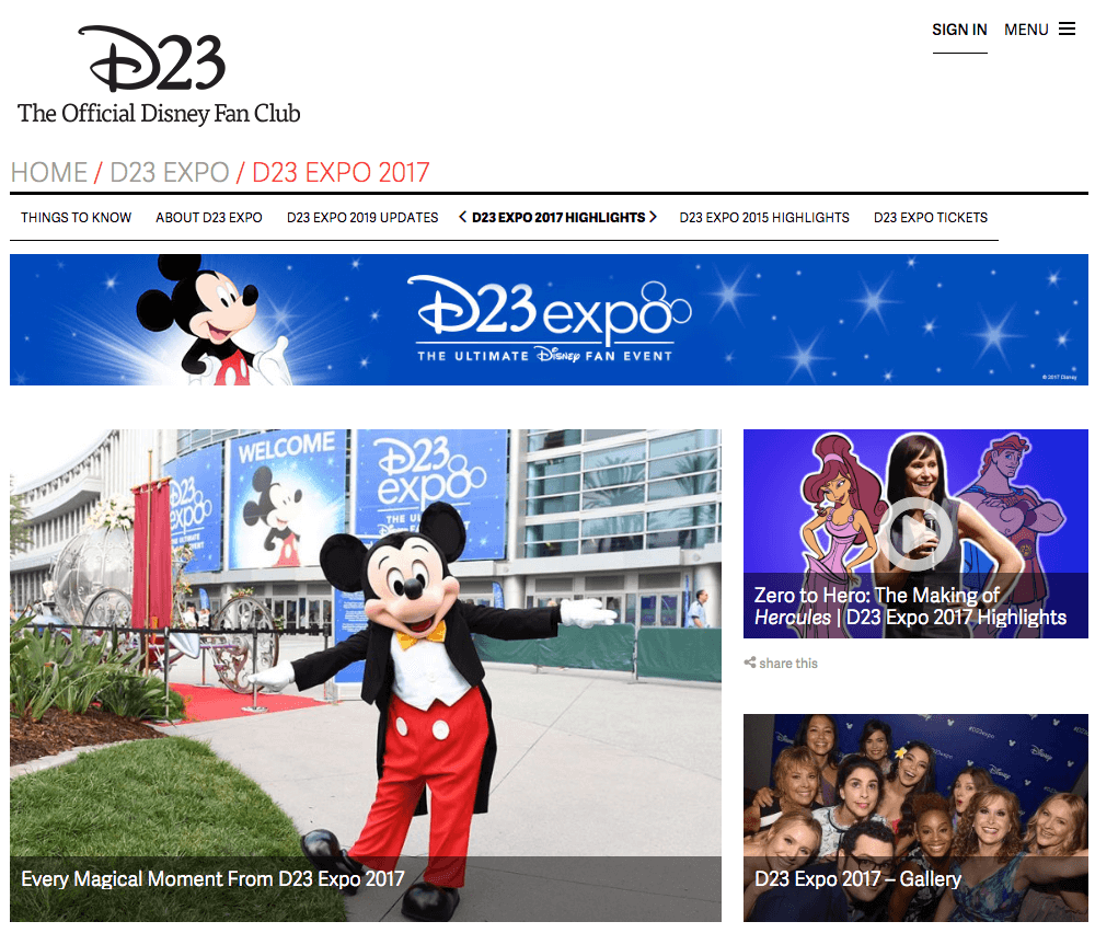 Best Brand Communities - Disney D23 expo 2017 home page