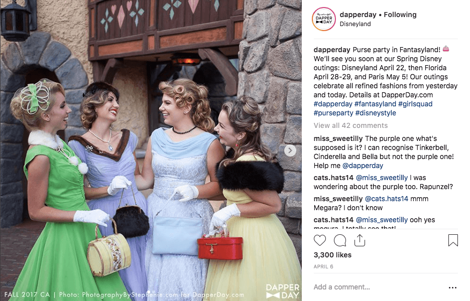 Best Brand Communities - Disney Dapper Day cosplay women in fancy costumes