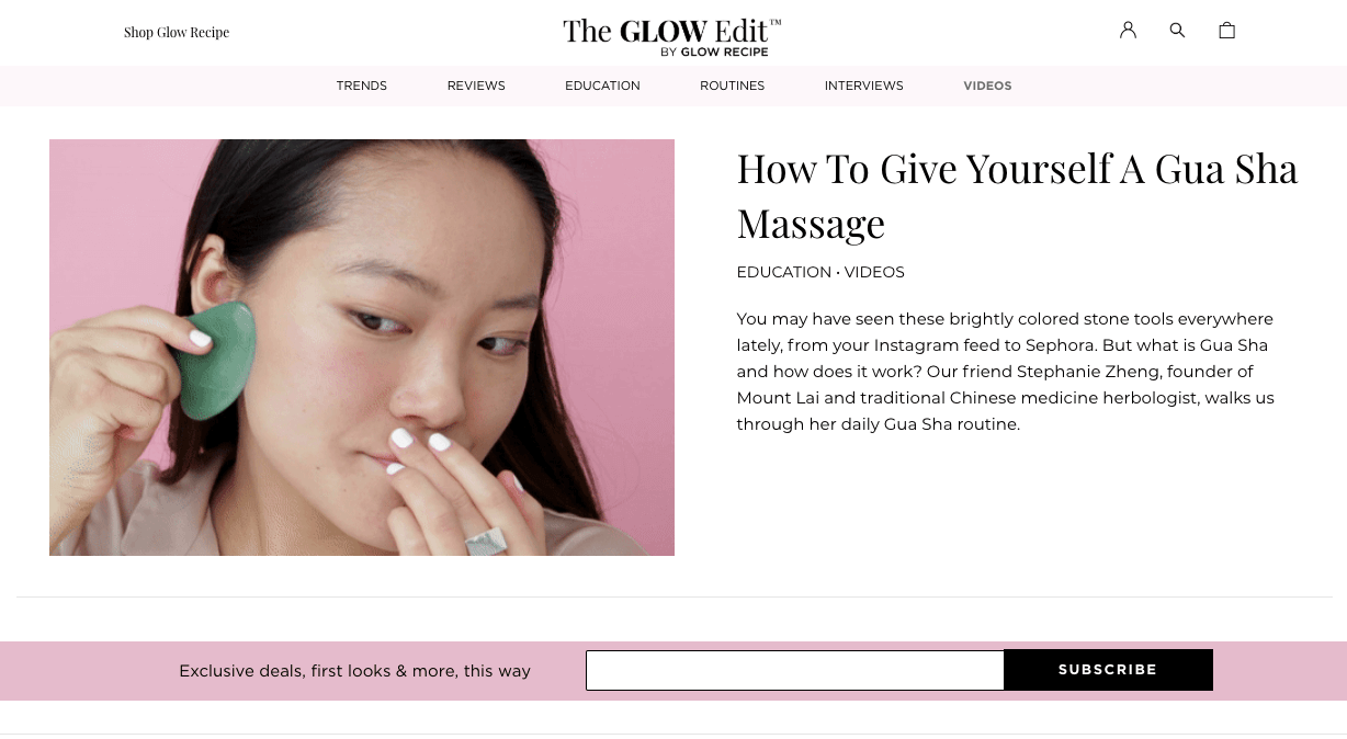 best brand communities - glow recipe blog