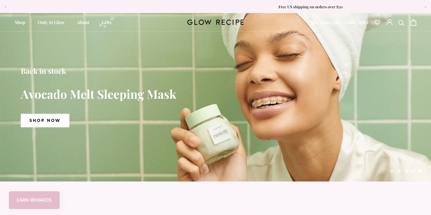 best brand communities - glow recipe homepage