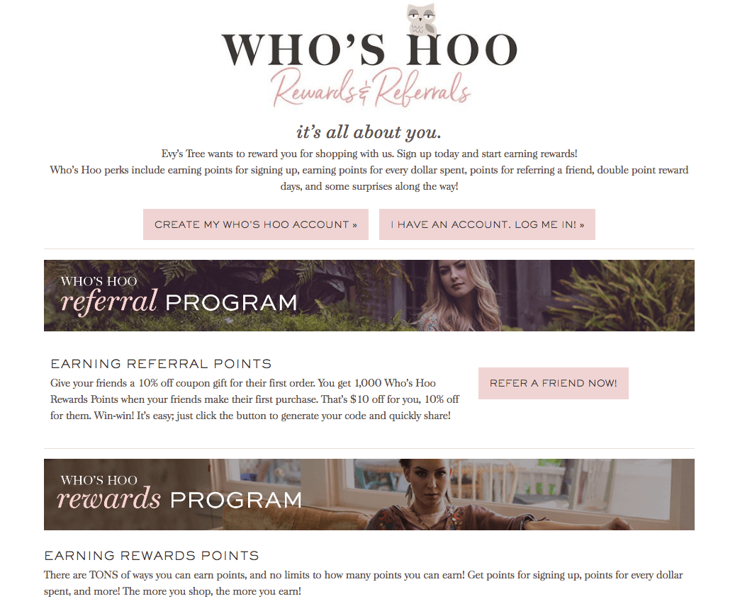 evy's tree's Who's Hoo Rewards explainer page