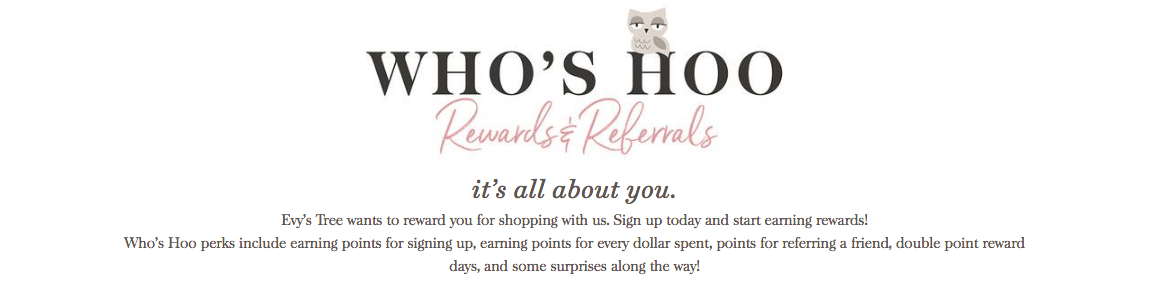 evy's tree who's hoo rewards & referrals logo