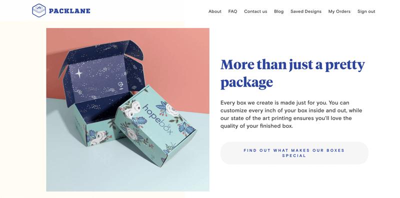 Packlane homepage