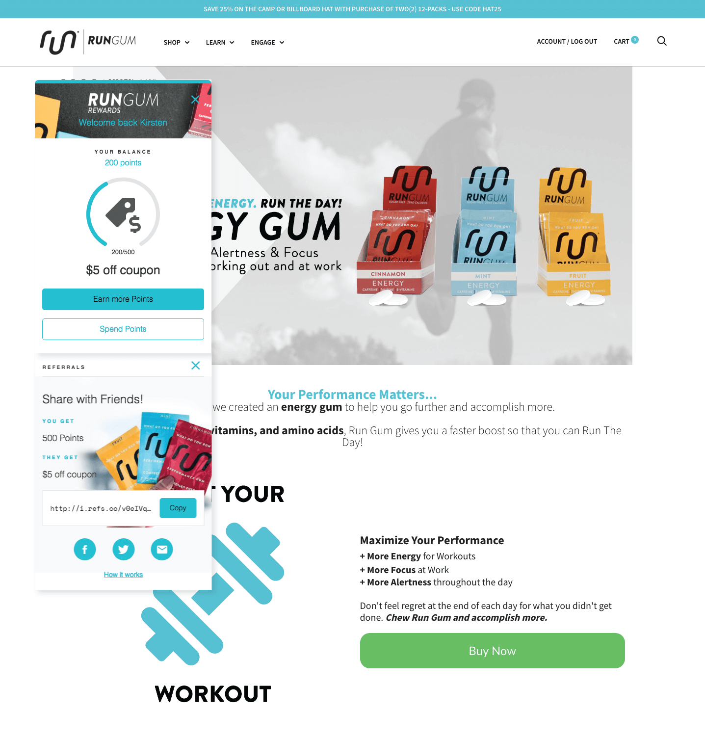 Run Gum Rewards panel and homepage