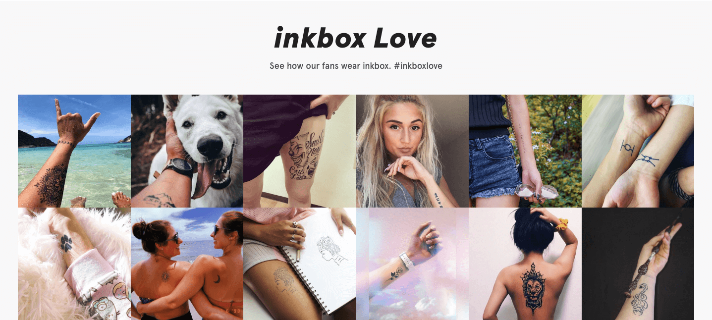 inkbox's Instagram feed on their homepage