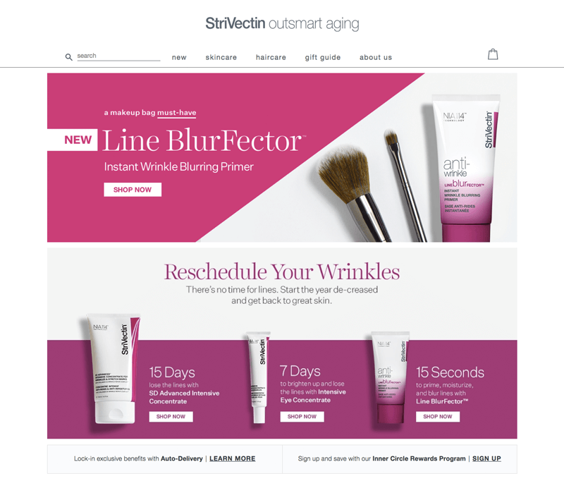 strivectin's homepage is an example of professional web design