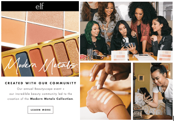 How to Leverage Exclusive Events to Build Community - e.l.f Modern Metals new product created with community