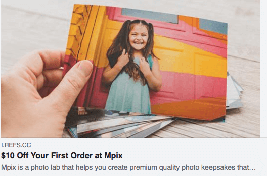 How to Turn Customer into Brand Advocates - Mpix social referral hand holding a picture of a girl $10 off first order