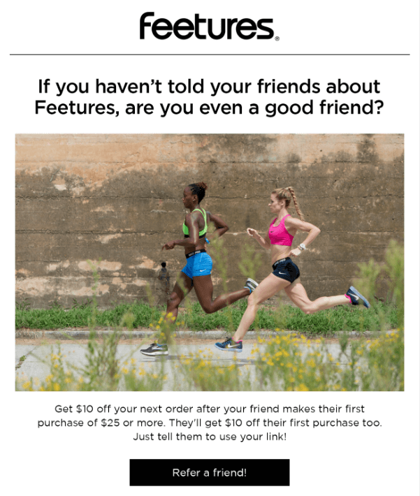How to Turn Customer into Brand Advocates -Feetures Be a good friend and Refer a Friend - athletes running