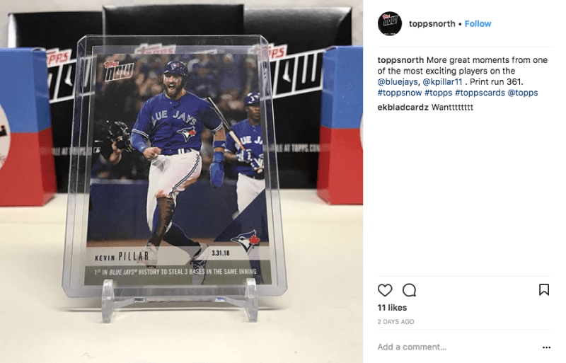 Topps Now collectable baseball card