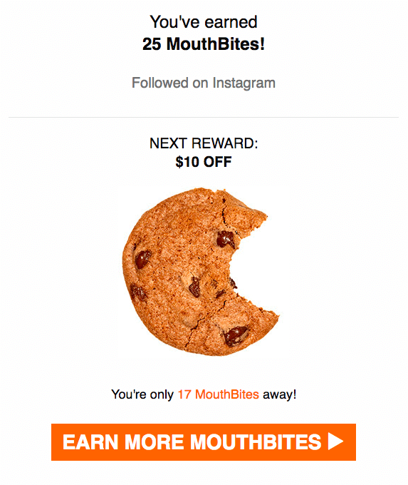 Mouth Reward Program Point Reminder Email Example