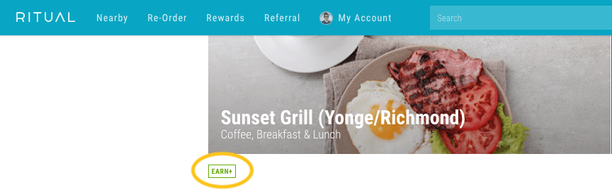 Ritual Rewards Case Study - Sunset Grill partner listing with Earn+ symbol