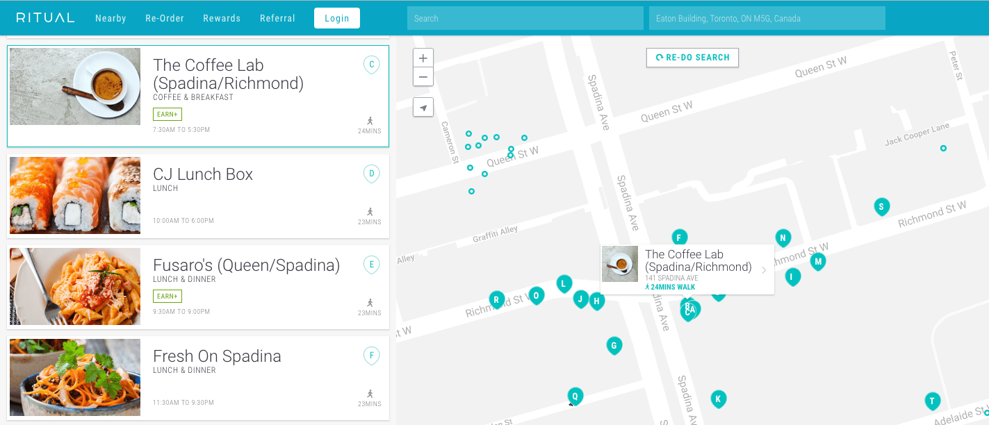 Ritual Rewards Case Study - map of locations in Toronto