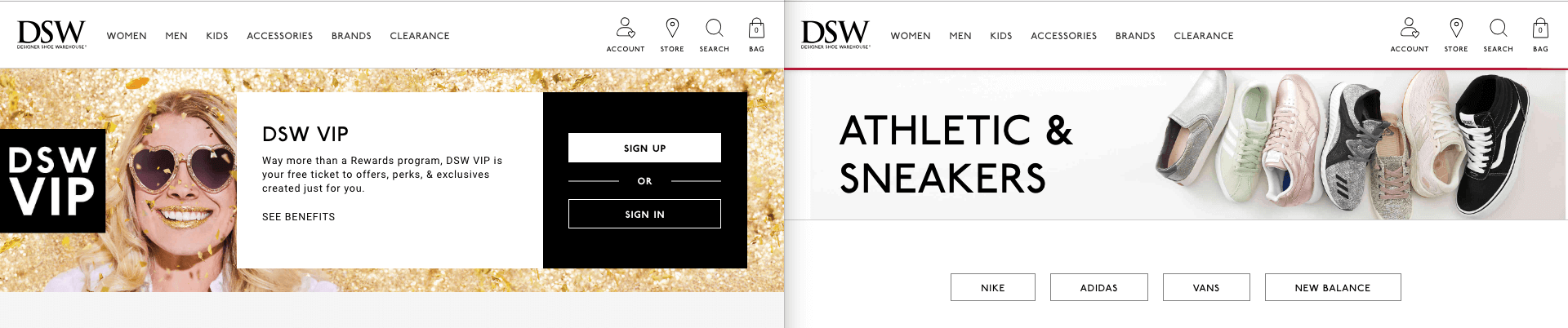 Designer Shoe Warehouse DSW Website banner image comparison gold and pastel