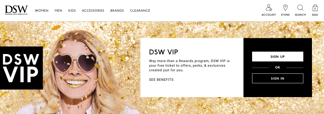 Designer Shoe Warehouse DSW VIP explainer page sign up buttons