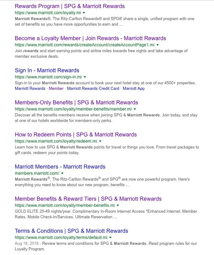 Marriott Rewards Google search