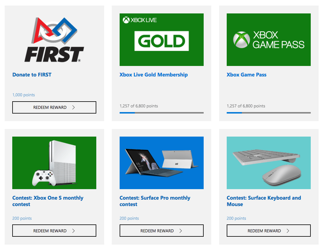 Sample of some of the prize offerings from Microsoft Rewards