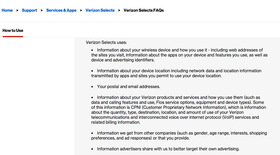Verizon Up Rewards - Verizon Selects customer data collection sources