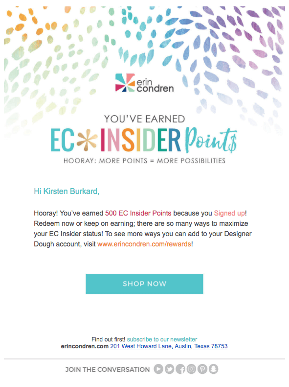 erin condren welcome points email