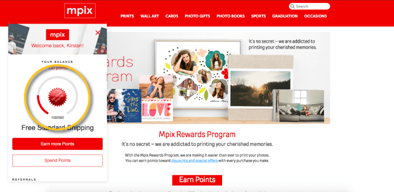 Mpix displays progress to the next reward in their customer rewards panel