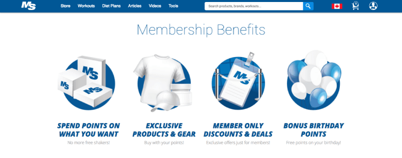 Muscle & Strength offers a diverse range of loyalty rewards