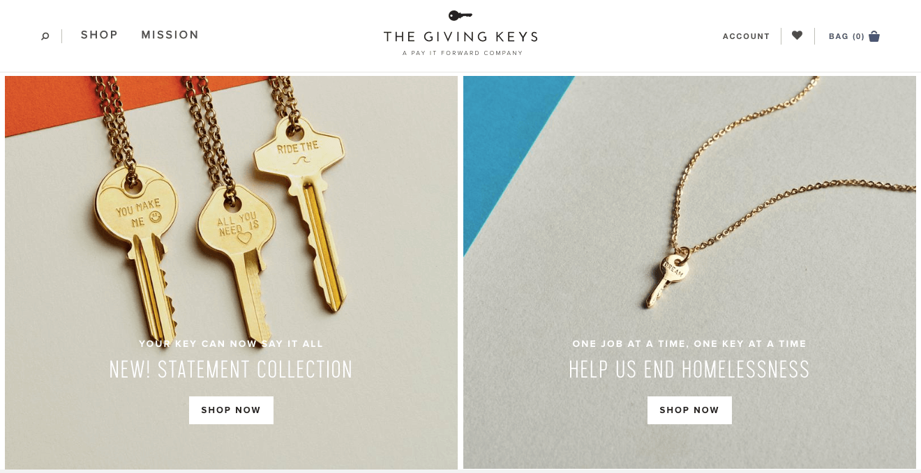 What Really Motivates Customers - the giving keys home page Help us end homelessness key jewelry