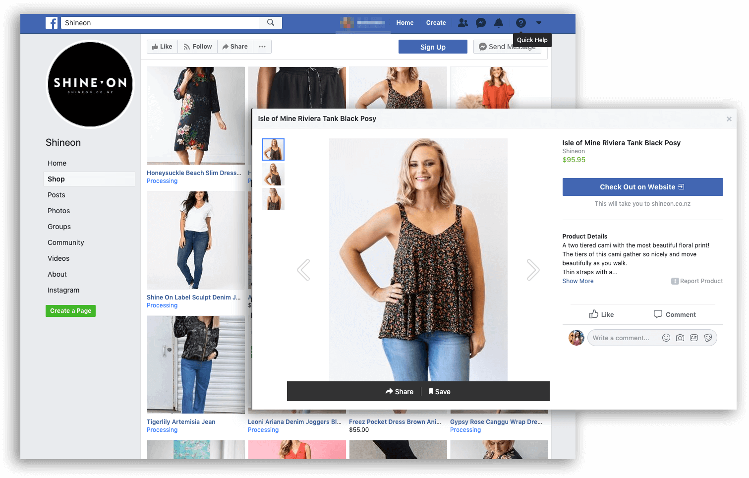 social commerce - Shine On facebook overlap