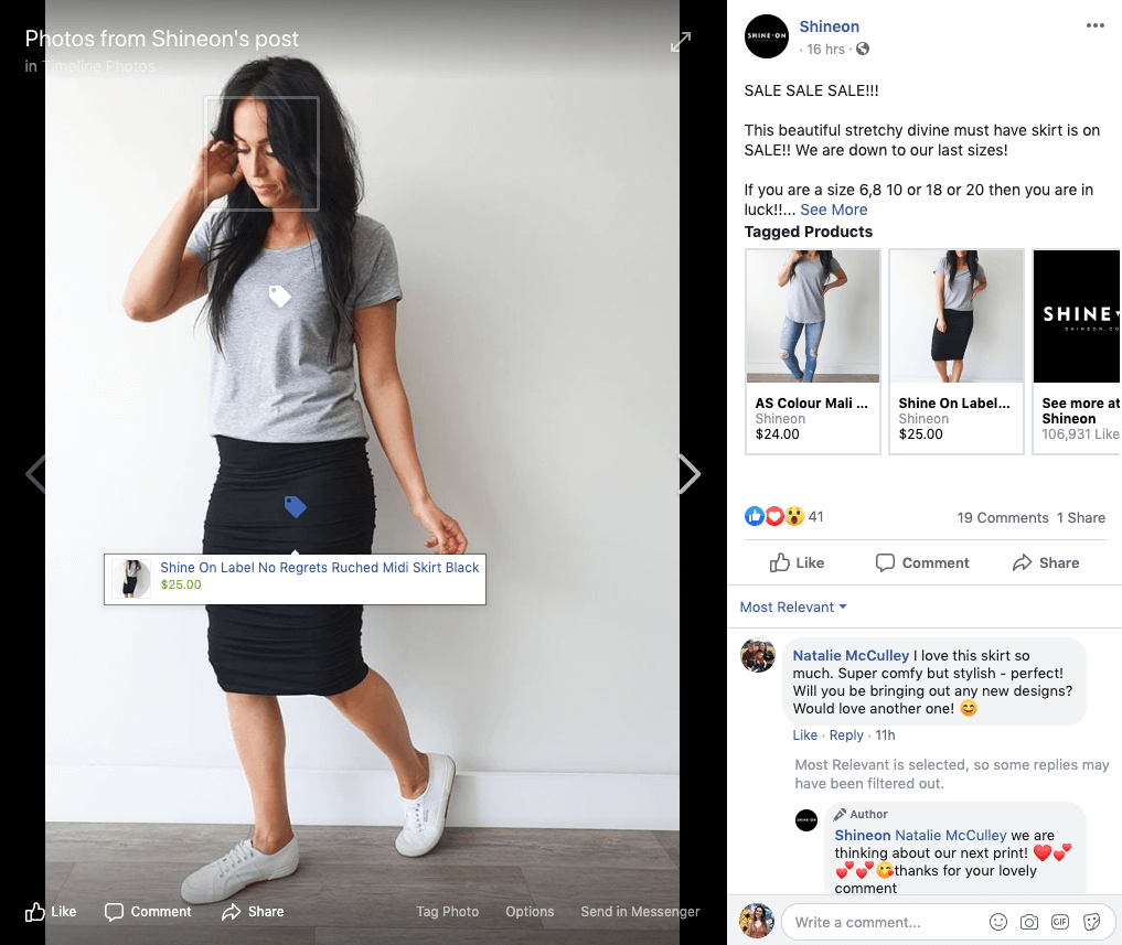 social commerce - shineon tagged product facebook post