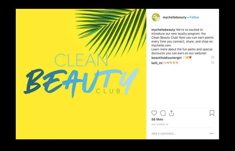 MyChelle Clean Beauty program Instagram announcement