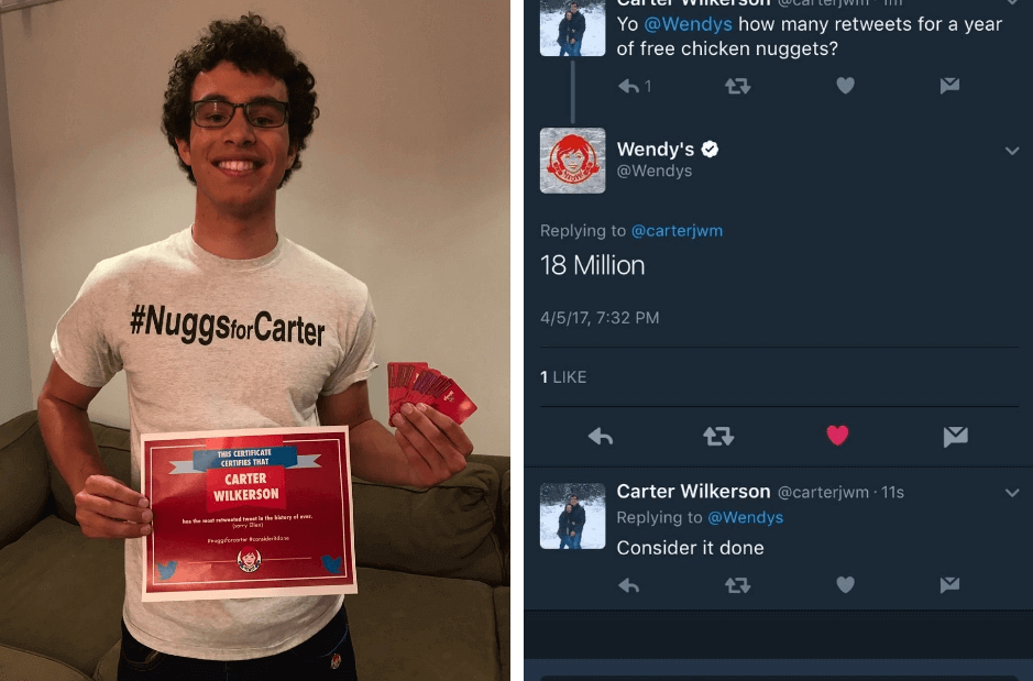 customer engagement campaigns - wendys nuggsforcarter