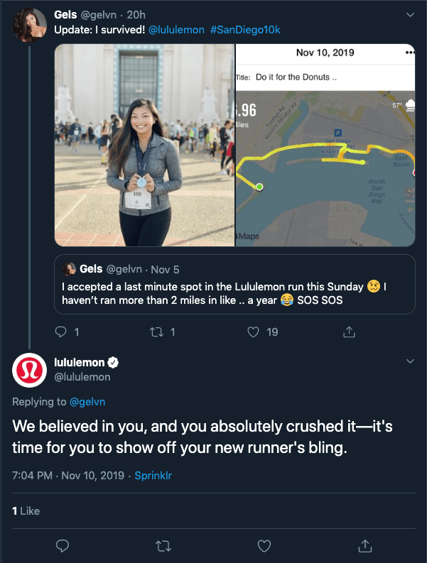 lululemon lifestyle twitter reply