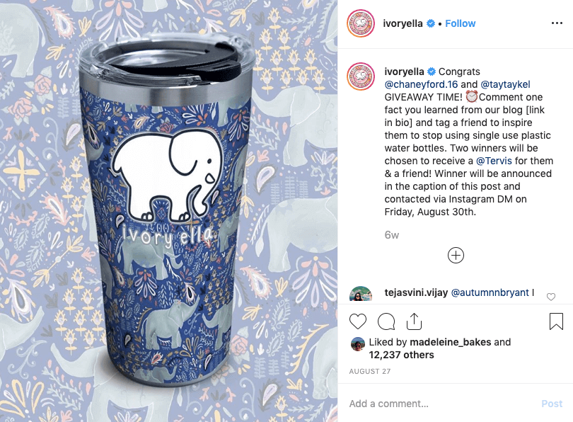 brand partnerships - ivory ella and tervis instagram