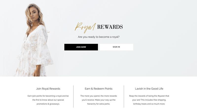 ESTHER royal rewards loyalty program explainer page