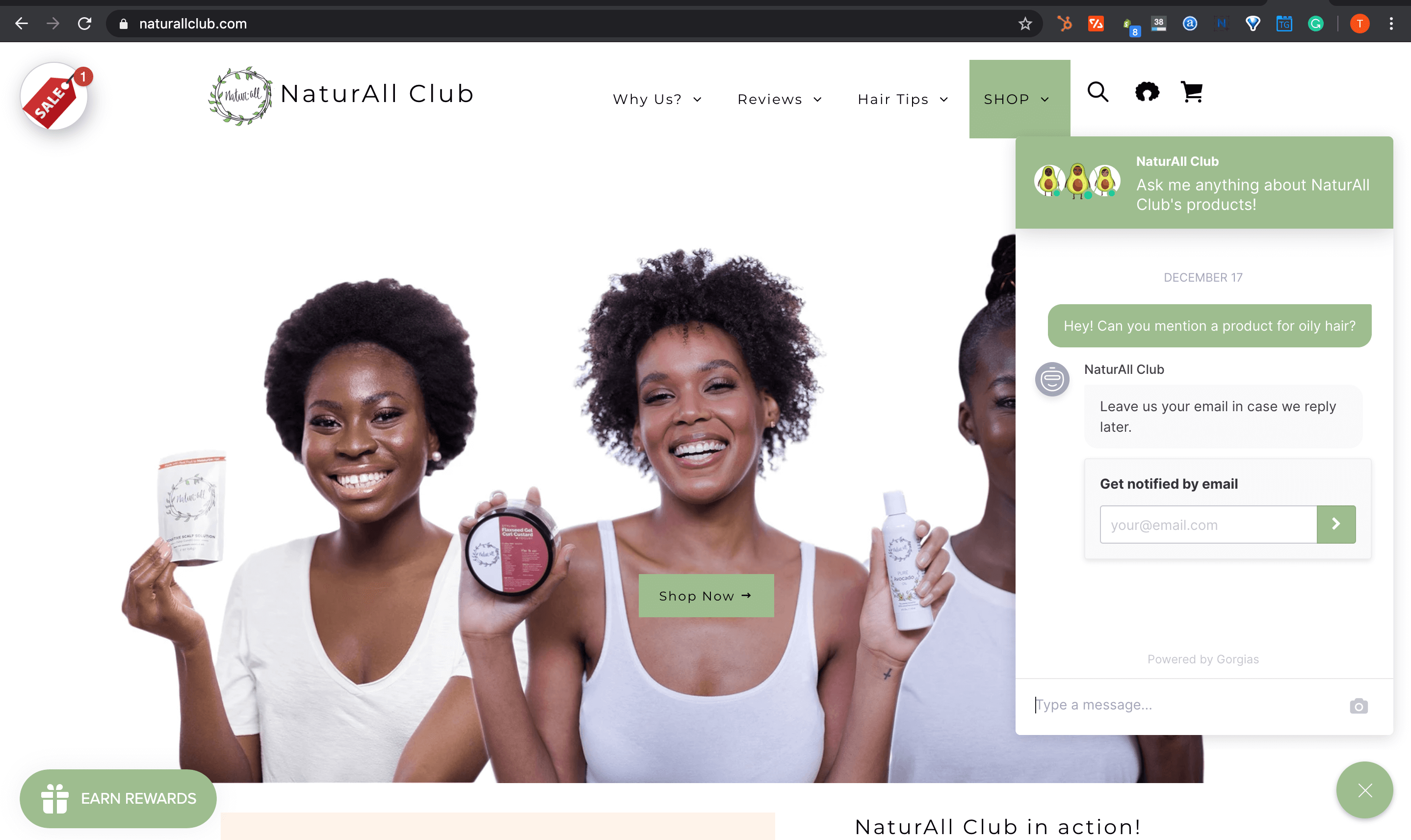 Small business marketing channels - NaturAll Club - live chat
