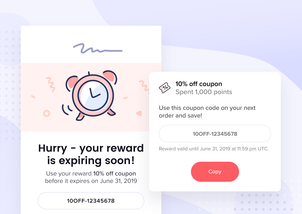 Reward expiry - panel and email