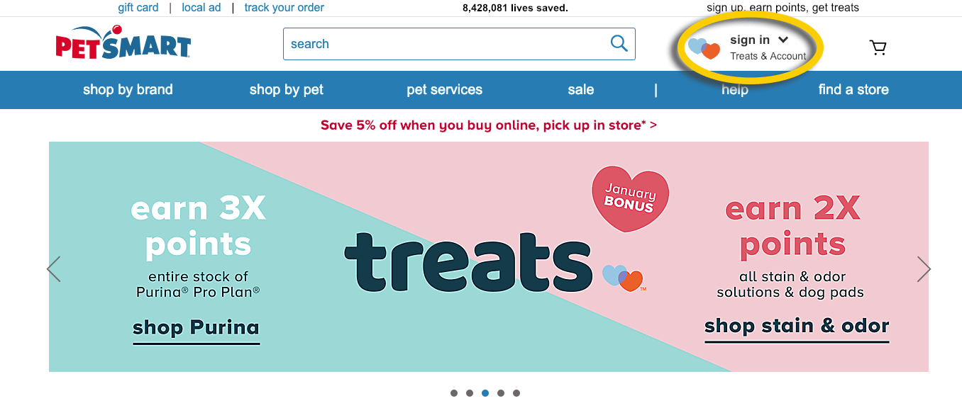PetSmart Treats promo banner and nav button