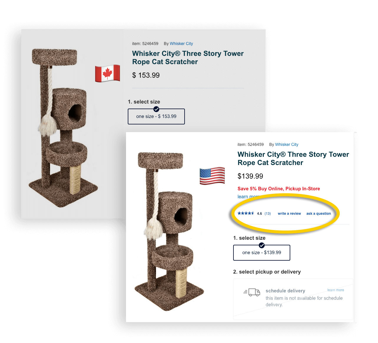 PetSmart Treats US vs Canada site reviews