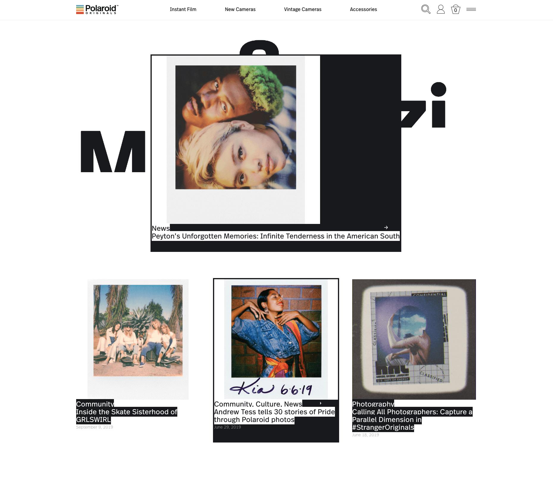 Brand storytelling - polaroid magazine