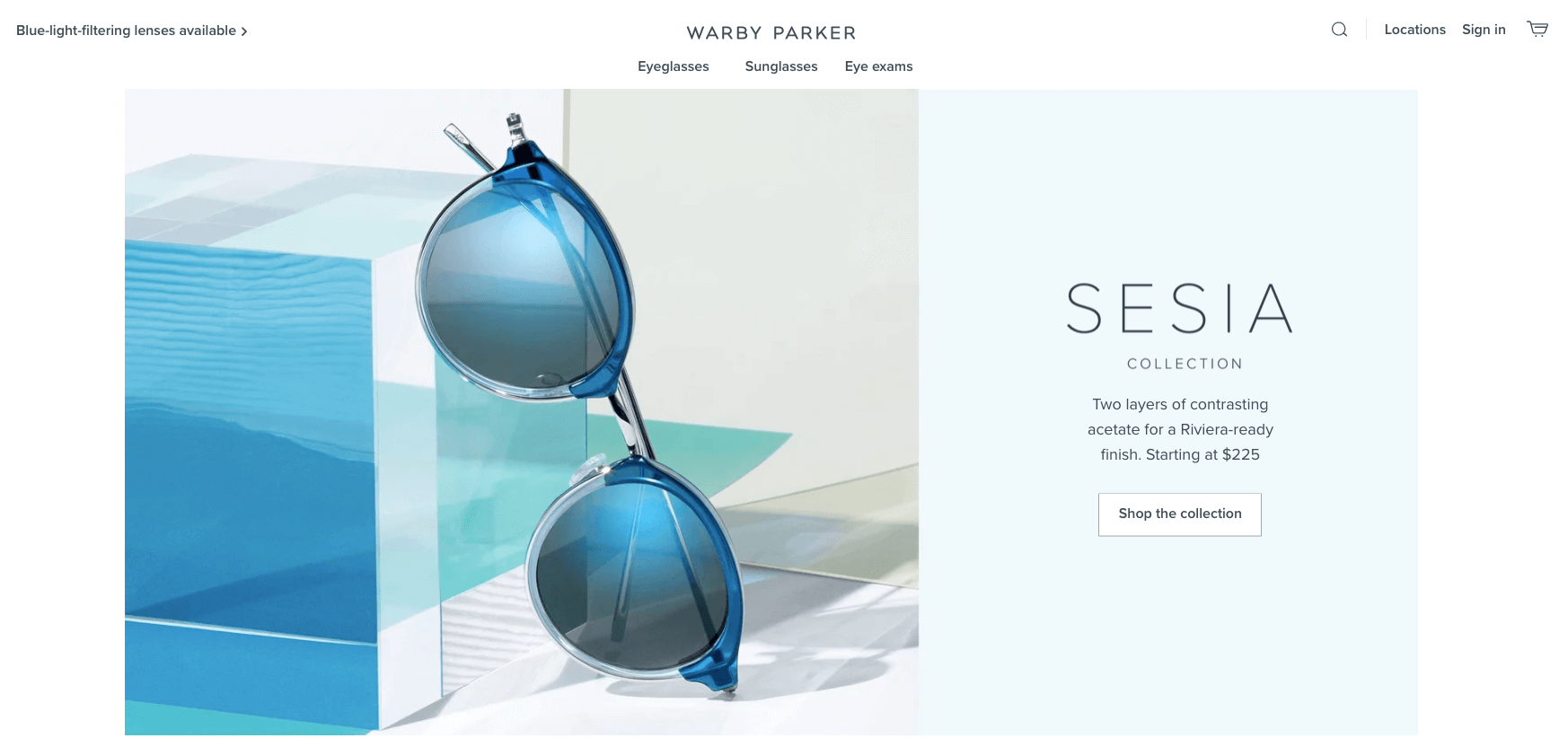 Brand storytelling - warby parker home