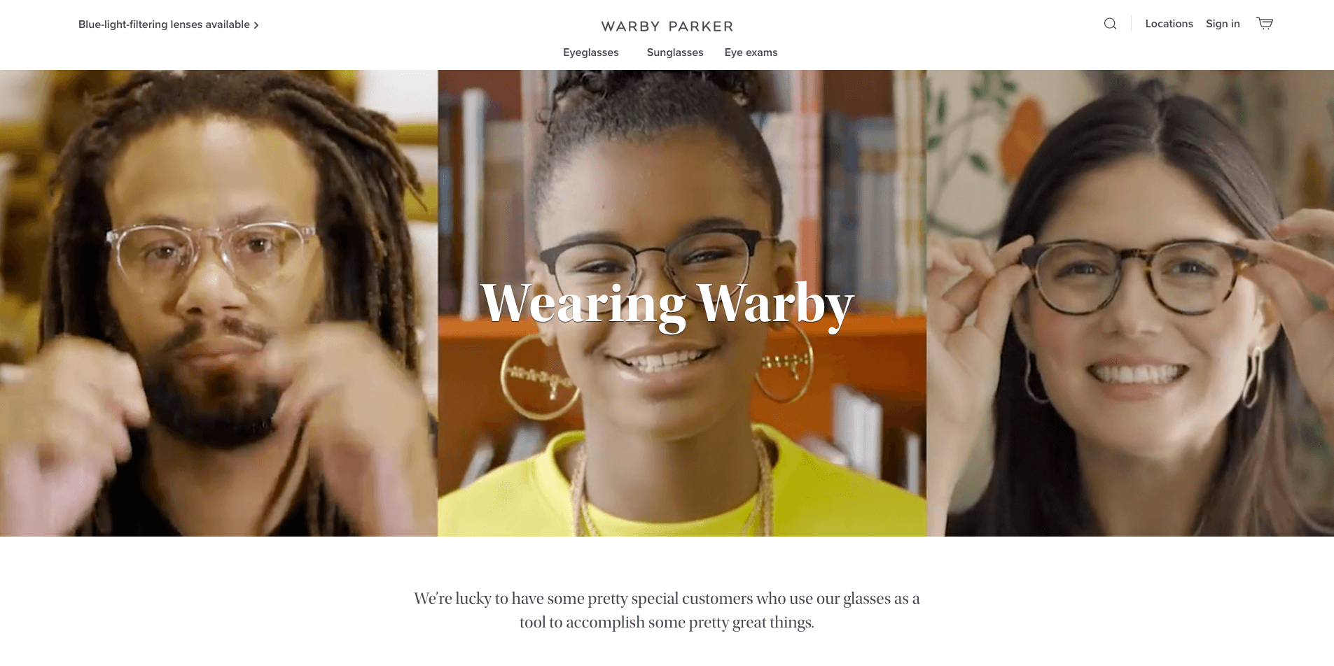 Brand storytelling warby parker wearing warby